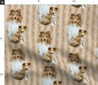Shelty Shetland Sheepdog Dog Floral Roses Fabric Printed by Spoonflower BTY
