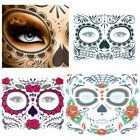 Temporary Tattoo Stickers Day Of The Dead Halloween Dress up Facial Makeup $9.16 USD on eBay