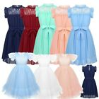 Kid Girls Mesh Flower Girl Dress Lace Leotard Bridesmaid Party Long Gown Bowknot