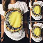 Womens Summer Casual Tank Tops Blouse Short Sleeve Print Workout Loose T Shirts