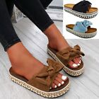 WOMENS COMFY FLATFORM PLATFORM SANDALS LADIES UMMER STUDDED BOW SHOES SIZE 3-8