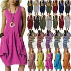 Women Loose Short Sleeve T Shirt Dress Casual Baggy Pocket Summer Tank Top Dress