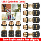 4/8 Pair Garden Hose Quick Connect Water Hose Fit Brass Female Male Connector Us