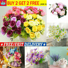 28 Heads Rose Artificial Silk Flowers Green Plants Bunch Wedding Home Bouquet Us