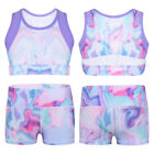 Kids Girls 2 Piece Sports Gymnastic Active Outfit Tie-Dye Tanks Crop Top Shorts