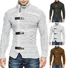Mens Turtleneck Knitted Warm Cardigan Pullover Coat Buckle Sweater Jacket Winte