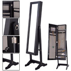 Mirrored Jewelry Black Wood Armoire Bejeweled Stand Up Organizer Storage