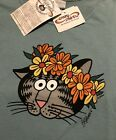 🐾NWT WOMEN KLiBAN CAT HAKU LEI Flower Crown SCOOP Neck CRAZY SHiRTS Hawaii Blue