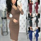 Fashion Womens Autumn Bottom Sweater Bodycon Deep V Neck Long Sleeve Party Dress