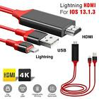 Lightning to HDMI 8 Pin Cable 2M 1080p TV AV Adapter USB Charger For iPhone iPad