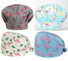 Surgical Scrub Hat Cap with Buttons Women Tie Back Bouffant Flamingo Medical New