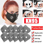 Reusable Double Breathing Valve Face Mask Washable W/ Activated Carbon Filter Us