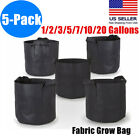 5 Pack Black Fabric Grow Pots Breathable Plant Bags Smart Plant bag with handle
