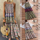 Women Vintage Size Maxi Sleeveless Bohemian Floral O-Neck Print Long Plus Dress