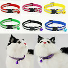 Adjustable Pet Cat Dog Puppy Glossy Reflective Collar Safe Buckle Bell Strap G