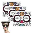 Face Temporary Tattoo Stickers Day Of The Dead Facial Makeup Halloween Dress up $5.35 USD on eBay