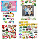 Paper Supply Mix Photo Booth Props Hawaii Flower Frame Emojis Selfie Party Decor