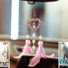 Crystal Love Heart Round Feather Chain Car Mirror Pendant Home Interior Decor Au