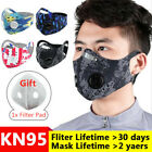 Reusable Cycling Mask With Double Breathing Valve Fliter Pad Washable Face Cover