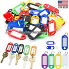 50/100 Plastic Key Tags Metal Ring Luggage Card Name Label Keychain Split Rings