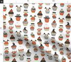 Halloween White By Spooky Scary Food Cupcake Fabric Printed by Spoonflower BTY