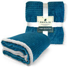 Sherpa Flannel Fleece Reversible Blanket Extra Soft Microfiber Throw for Couch