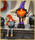 Lighted HALLOWEEN Witch GNOME STANDING or SITTING Figurine Table Mantle Decor