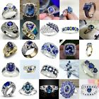 Fashion Blue Sapphire Women Wedding Engagement Ring 925 Silver Jewelry Size 6-10