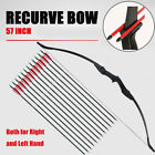 """Hunting 57"""" Archery Takedown Recurve Bow & 12X Carbon Arrows Set Right Left Hand"""