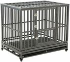Heavy Duty Dog Crate with 4 Wheels,Strong Metal Kennel and Crate for Large Dogs