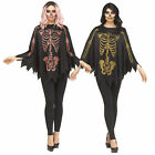 Womens Poncho Cape Glitter Rose Gold Skeleton Halloween Costume Accessory