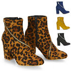 Womens Ankle Boots Decorative Zip Block Mid Heel Ladies Faux Suede Booties