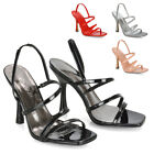 Womens Strappy Square Peep Toe Curved Block Heel Sandals Ladies Slingback Heels