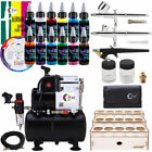 OPHIR Professional 3X Airbrush Compressor Kit  Air Tank with 12x Acrylic Paint