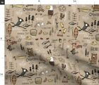 Colorado Bear Nature Fish Bird Mountains Fabric Printed by Spoonflower BTY
