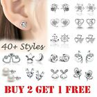 925 Sterling Silver Colour Stud Earrings Cubic Zirconia Earring Crystal Women