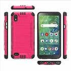 Brushed Hybrid Case Cover For Alcatel A2 A507DL / TCL SIGNA + Tempered Glass