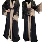 Muslim Dress Women Open Cardigan Kaftan Jilbab Abaya Lace Beads Ramadan Kimono