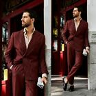 Burgundy Striped Men Suits Slim Fit Wedding Party Formal Tuxedos Wide Peak Lapel