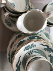 A large selection of Booths Dragon green china, with gold rims, postage discount