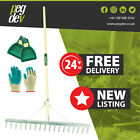 18 TOOTH ALUMINIUM LANDSCAPE RAKE - Leaf Scoop Grab & Gardening Gloves
