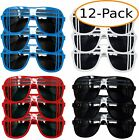 Patriotic Color Party Favor Dark Lens Sunglasses 12 Pack, Red, White, Blue & Bla