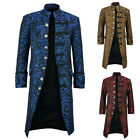 Medieval Gothic Mens Coat Long Jacket Steampunk Stand Collar Windbreaker Costume