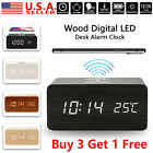 LED Wooden Wood Digital  Desk Alarm Clock Thermometer Qi Wireless Charger USA