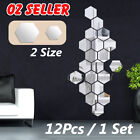 12pcs Removable Mirror Hexagon Acrylic Wall Stickers Art Diy Home Decorations Au