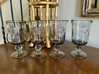 Vintage Hand Blown Glass Smokey Gray Goblet Sets-Choice of Yours