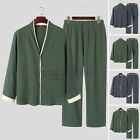 Men's Long Sleeve Cotton Pajamas Set Pyjamas Nightwear Sleepwear Loungwear Suits