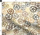 Steampunk Gears Machine Dad Boy Brown Father Spoonflower Fabric by the Yard