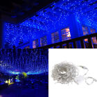 4-40m 96LED Fairy Icicle Curtain Lights Party Indoor Outdoor Xmas Home Lamp Blue