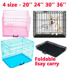 Dog Puppy Metal Training Cage Crate Folding Carrier S M L XL Pink Blue Black